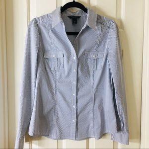 White House Black Market Striped Button Down Shirt